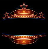 picture of movie theater  - Stars at classic theatre marquee neon template - JPG