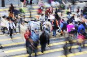 stock photo of zebra crossing  - Busy Crossing Street in Hong Kong - JPG