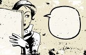 retro woman peeking, speech bubble, holding blank newspaper