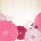 Dibujo de la mano fondo floral con Dalia flor. Elemento de diseño.