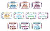 pic of memphis tennessee  - Passport stamps of major US airports in vector format - JPG