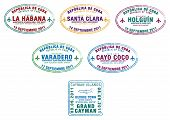 foto of greater antilles  - Passport stamps from Cuba and the Cayman Islands in the Caribbean in vector format - JPG