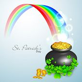 Irish shamrock leaves and golden coins pot flyer, banner or background for Happy St. Patrick's Day. EPS 10.