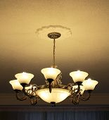 Bronze 8-lamp Chandelier View From Side