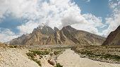 stock photo of skardu  - Braldu River Panorama in the Karakorum Mountains near Askole Pakistan - JPG