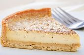 Custard Tart Slice On A Plate.