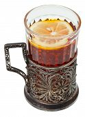 image of melchior  - black tea with lemon in retro glass isolated on white background - JPG