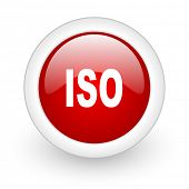 iso red circle glossy web icon on white background