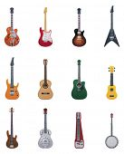 foto of banjo  - Vector guitars icon set - JPG
