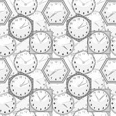Seamless Texture With Wall Clocks