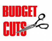 Budget Cuts with Scissors Isolated