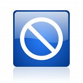 access denied blue square glossy web icon on white background