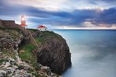 Glowing Beacon At Cape Sea. Portugal.