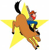 stock photo of bronco  - A cowboy rides a bucking bronco - JPG