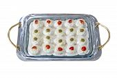 picture of nibbling  - Nibbles on a nice tray isolated on white background - JPG