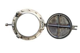 pic of sloop  - old aged bronze porthole isolated on white - JPG