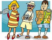 Tourist Group Cartoon Illustration
