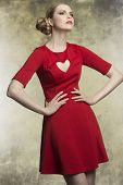Romantic Female With Red Dress