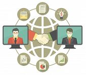 Business Cooperation Concept with Gray Globe