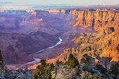 stock photo of south-western  - Beautiful Landscape of Grand Canyon from Desert View Point with the Colorado River visible during dusk