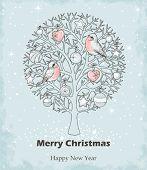 Round Christmas tree, hand drawn.