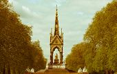 stock photo of kensington  - Vintage look Albert Memorial in Kensington gardens London UK - JPG