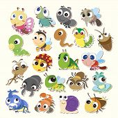 stock photo of caterpillar cartoon  - Set of cute cartoon insects - JPG