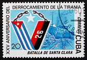 Postage Stamp Cuba 1983 Flags, Santa Clara Railway Tracks