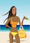 image of monokini  - Beautiful woman in orange and yellow monokini on the beach - JPG
