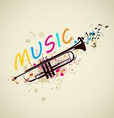image of trumpet  - Music bright abstract background with trumpet and notes - JPG