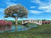Flowering Tree And Pink Bridge