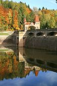 Picturesque autumn. Dam Les Kralovstvi in Bila Tremesna, Czech Republic