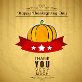 stock photo of give thanks  - Vintage Happy Thanks giving background with pumpkin - JPG