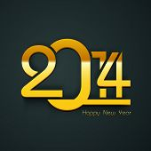 Happy New Year 2014 celebration party poster, banner or invitations with golden text on dark green b