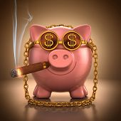 stock photo of cigar  - Piggy bank with gold accessories showing lust and wealth - JPG