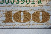 New Us One Hundred Dollar Bill Detail