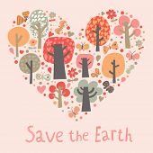 Save the Earth concept card in vector. Heart made of leaf trees, flowers and butterflies. Cartoon wa