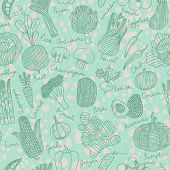 Tasty seamless pattern with green peas, eggplant, potato, carrot, pumpkin, avocado, leek, corn, cucumber, cabbage, radish, pepper, cherry tomato, chili, garlic, champignon, onion and others
