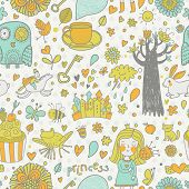 Stylish fairytale seamless pattern with little princess, horse, magic tree, castle, frog, key, cake. Sweet vector background can be used in birthday design, children bedroom. Childish Gorgeous pattern