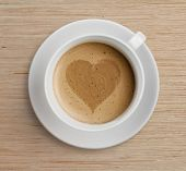coffee cup with heart shape on foam