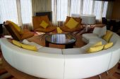 pic of scant  - Modern living room with round sofa and colorful pillows  - JPG