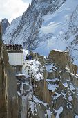 Mont-Blanc terrace at the mountain top station of the Aiguille du Midi in French Apls