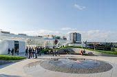 Futuristic Shopping Mall Exterior Promenade