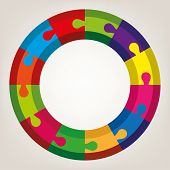 Vector Background Of Colorful Round Puzzle