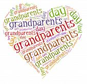 Tag Or Word Cloud Grandparents Day Related In Shape Of Hearth
