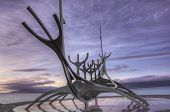 stock photo of metal sculpture  - Metal sculpture by the sea in Reykjavik Iceland - JPG