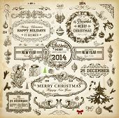 Christmas decoration collection | Set of calligraphic and typographic elements, frames, vintage labels. Ribbons, borders, wreath and Christmas tree, bird and engraving Xmas baubles. Holiday Vector.