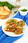 stock photo of hardtack  - Sandwiches with vegetables and greens on plate on wooden table close - JPG