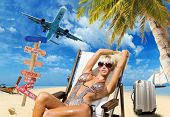 foto of bimbo  - Young woman on the beach Travel concept - JPG