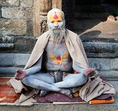 Kathmandu, Nepal - Dec 16, 2013 Famous Painted Sadhu (holy Man) About Pashupatinath - 16Th Of Decemb